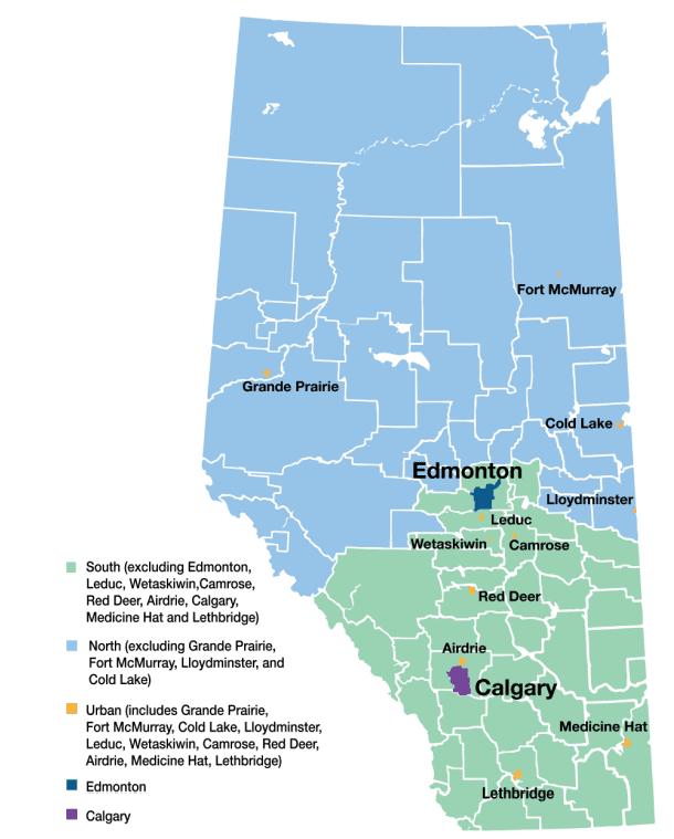 Map of Alberta's Regions