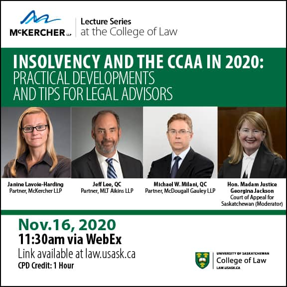 Insolvency and the CCAA in 2020 Event Poster
