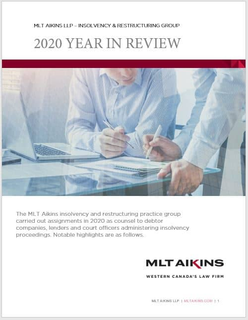 MLT Aikins Insolvency and Restructuring 2020 Year in Review